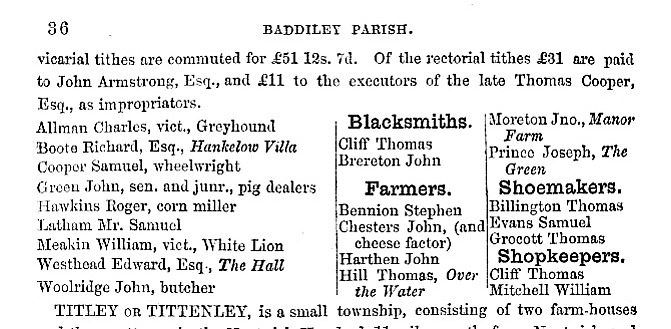 The first page of information about Hankelow taken from the 1860 edition of the book History, Gazetteer and Directory of Cheshire
