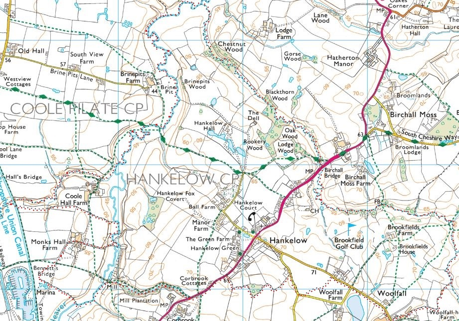 Ordnance Survey map of footpaths in Hankelow Parish